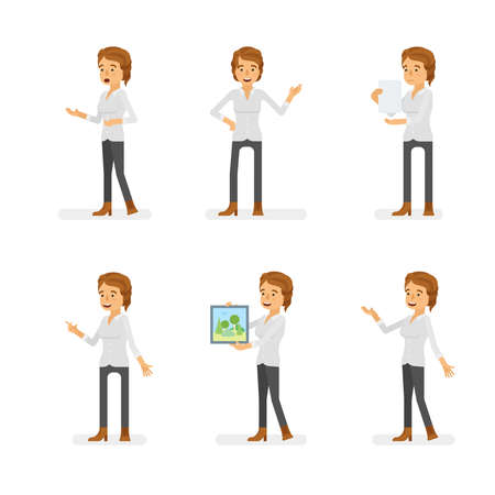 Vector young adult woman in casual clothing ready-to-use character dialogue and presentation poses set in flat style. Ilustração