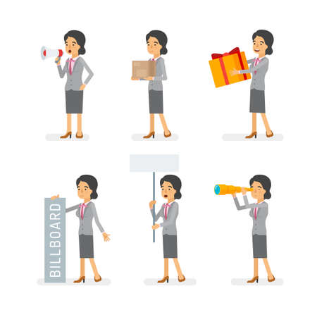 Vector young adult woman in office suit ready-to-use character marketing and infographic poses set in flat style.