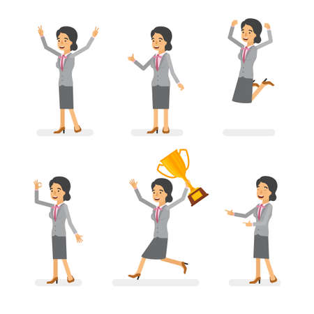 Vector young adult woman in office suit ready-to-use character success and positive mood poses set in flat style.