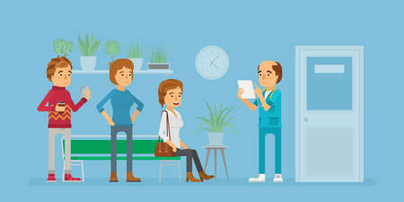 Patients waiting for visiting doctor concept in flat style Ilustração