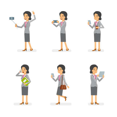 Vector young adult woman in office suit ready-to-use character gadget using poses set in flat style.