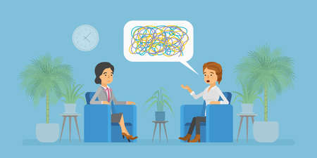 Psychotherapist and patient consultation in doctors office concept in flat cartoon style