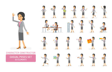 Vector young adult woman in office suit ready-to-use character casual poses set in flat style. Full length, gestures, emotions, front, side, back view.