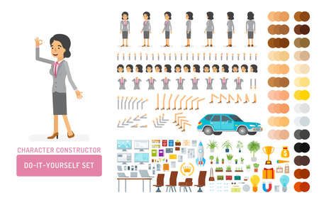 Vector young adult woman in office suit do-it-yourself creation kit. Full length, gestures, emotions - all character constructor elements for building your own design for infographic illustrations.