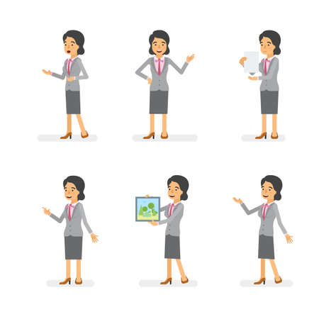 Vector young adult woman in office suit ready-to-use character dialogue and presentation poses set in flat style.