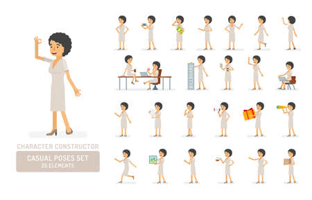 Vector young adult woman in dress ready-to-use character casual poses set in flat style. Full length, gestures, emotions, front, side, back view.