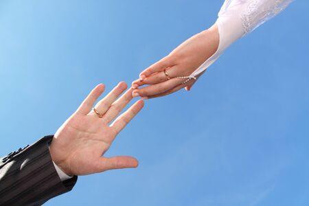 Wedding couple hands connection Standard-Bild