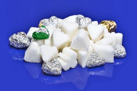 Corazones dulces en azul