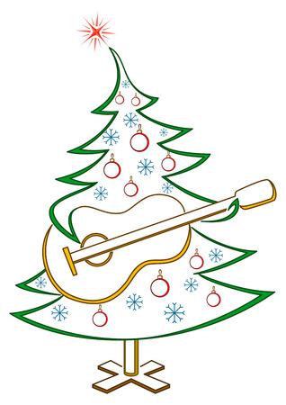 newyear: Abeto de Navidad con guitarra, vacaciones simb�lica pictograma, aislado