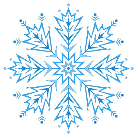 Snowflake isolated - winter natural object, complex figured form Vector