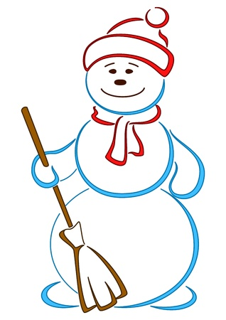 Snowball in a cap with a broom(14).jpg Vector