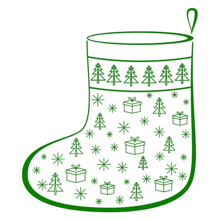 pictogramme: Christmas stocking for gifts decorated, monochrome openwork pictogram, isolated
