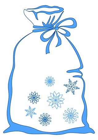 pictogramme: Bag with christmas gifts, decorated with snowflakes, pictogram