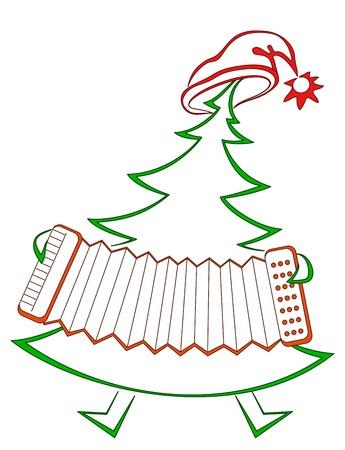 acordeon: Abeto de Navidad con el pictograma de vacaciones de acorde�n, simb�lica