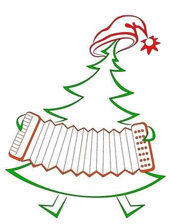 accordion: Christmas fir-tree with accordion, symbolical holiday pictogram