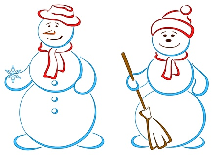 Snowballs, two friends, christmas holiday symbolical  Vector