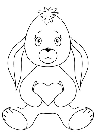 Rabbit sits and holds in paws heart, a symbol of love. Contours Vector
