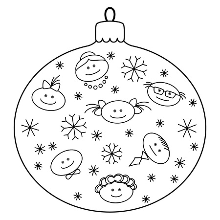 Christmas decoration: glass ball with image of amusing faces and snowflakes, contours Vector