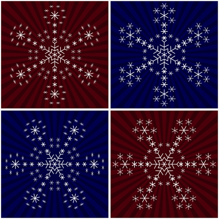 Snowflakes on background - winter christmas set, complex forms Vector