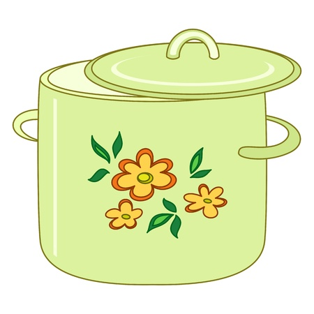 Kitchen pan with a pattern from flower and leaves Vector