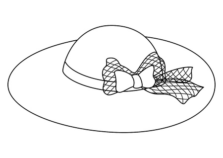hatband: Cap: a female hat with a bow and a tape, contours Illustration