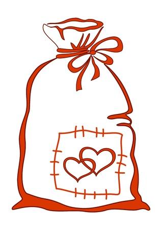 bolsa de regalo: Regalo de San Valent�n: los corazones de bolsa con amor, monocroma pictograma, aislado