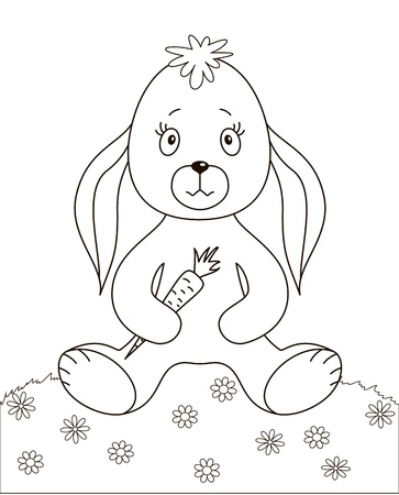 Rabbit siting on a flower meadow and holding carrot in paws, contours Vector