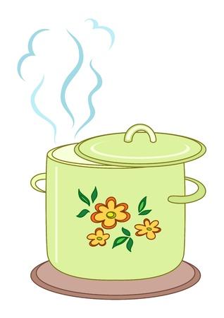 sopa: Pan con cubierta de flores, el vapor y el apoyo de ebullici�n Vectores