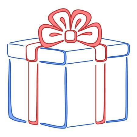 Gift box, holiday symbol pictogram, square, isolated  Illustration