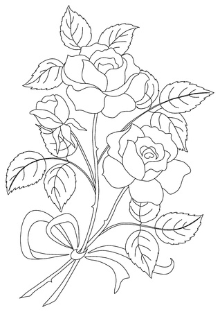 Flowers, rose bouquet, love symbol, floral gift, contours Illustration