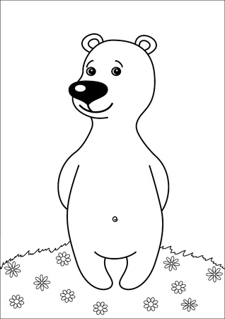 Teddy bear, childrens toy, standing on a flower meadow, contours Vector