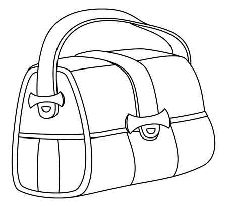 fasteners: Leather bag with wide belts and metal fasteners, contours
