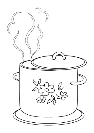 Boiling pan with flower cover, steam and support, contours Stock Vector - 8563608