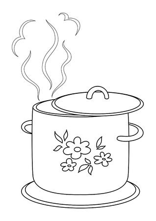 ebullition: Faire bouillir un moule couvert de fleurs, de vapeur et de soutien, des contours Illustration