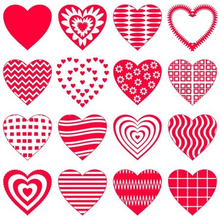 love heart: Valentine vector heart, love symbol, pattern, set pictogram