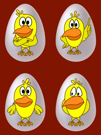 Birds, chickens with different emotions in eggs, set Vector