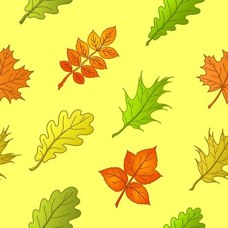 Floral seamless background, leaves of plants on the yellow Stock Vector - 8852040