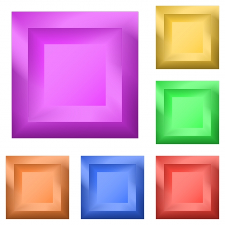 variegated: Set icons, isolated variegated square buttons