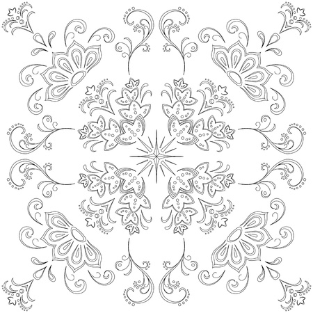 white lotus flower: Abstract floral seamless vector graphic background, monochrome contour