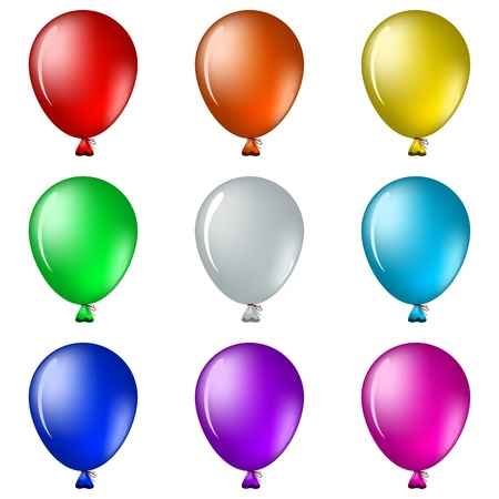 Set of isolated on white balloons all colours of a rainbow Stock Vector - 9122429