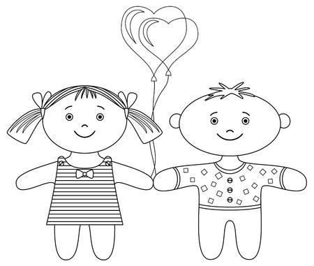 palloncino cuore: Giocattoli, ragdolls, ragazzo e ragazza con palloncino di cuore di San Valentino, contour