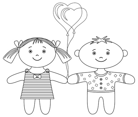 Toys, ragdolls, boy and girl with valentine heart balloon, contour Vector