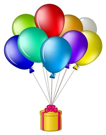 felicidad: Globos de todos los colores del arco iris volar con una caja de regalo