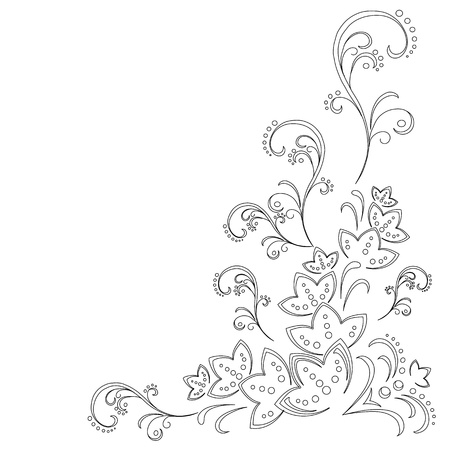 picto: Abstract vector background with a symbolical flower pattern, monochrome graphic contours