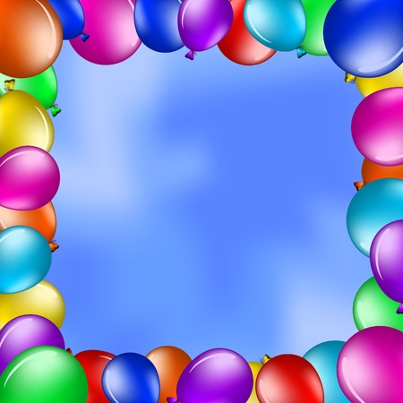 holiday celebrations: Vector background, framework from various balloons in the blue sky
