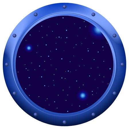 ventana ojo de buey: Ojo de buey de ventana de nave espacial con espacio, cielo azul oscuro y estrellas