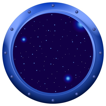 spacecraft: Spaceship window porthole with space, dark blue sky and stars Illustration