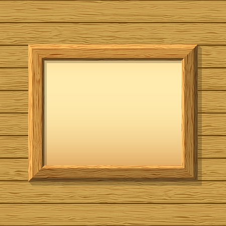 Vector empty wooden frameworks on a board wall. For your images or text Vector