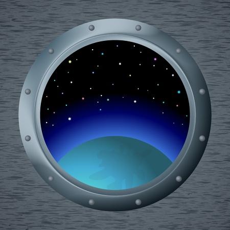 porthole: Spaceship window porthole with space, dark blue sky, planet and stars