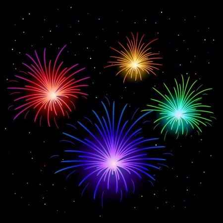 Various celebratory firework against the black sky, vector Vector